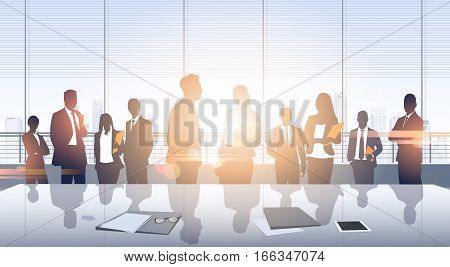 Business People Group Meeting Silhouettes Modern Office Building Interior Panoramic Window Vector Illustration