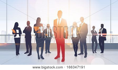 Business People Group Silhouettes Modern Office Building Interior Panoramic Window Vector Illustration