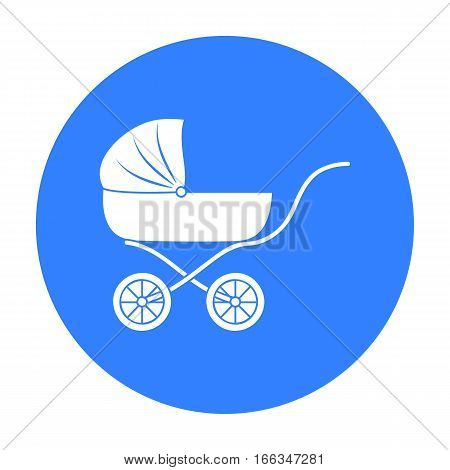 Pram icon in blue style isolated on white background. Baby born symbol vector illustration.