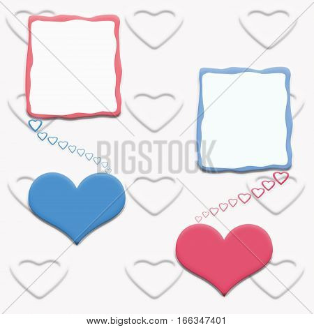 red and blue heart on white texture, beautiful love card for Valentines day