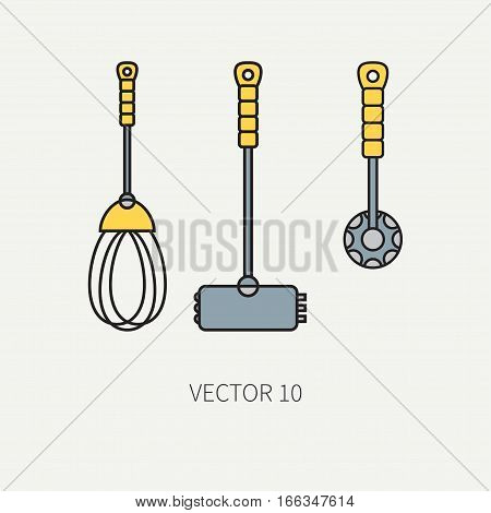 Line color vector kitchenware icons - hammer, corolla, mixer. Cutlery tools. Cartoon style. Illustration, element for your design. Equipment for food preparation. Kitchen. Household. Cooking. Cook.