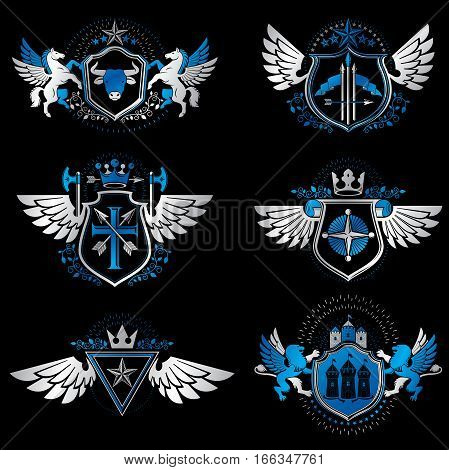 Vintage Heraldry Design Templates, Vector Emblems Created With Bird Wings, Crowns, Stars, Armory And