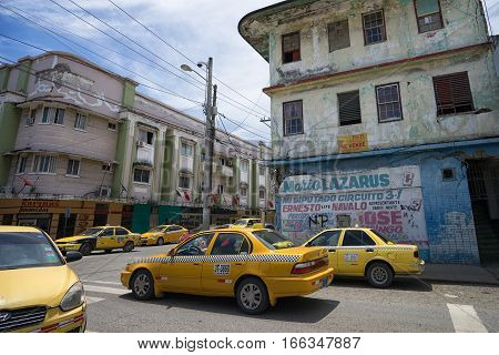 June 9 2016 Colon Panama: there is a high number of taxis in the tropical port town