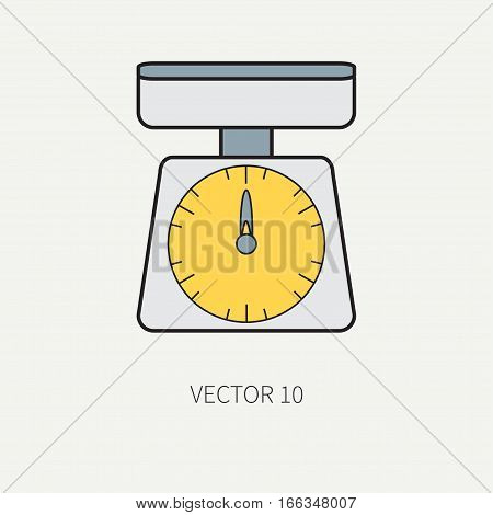 Line color vector kitchenware icons - kitchen scales. Cutlery tools. Cartoon style. Illustration, element for your design. Equipment for food preparation. Kitchen. Household. Cooking. Cook. Weigh.