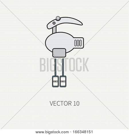 Line flat color vector kitchenware icons - mixer. Cutlery tools. Cartoon style. Illustration, element for your design. Equipment for food preparation. Kitchen. Household. Cooking. Cook. Blender.