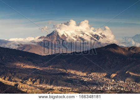 La Paz in front of the volcano Uturunku Bolivia