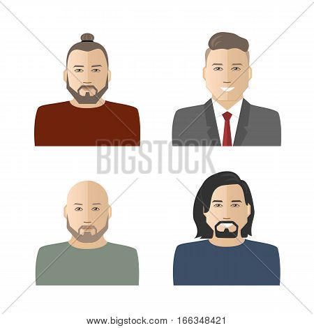 Men icons. Four different images of men. Can be used for the websites, blogs and forums. Vector illustration.