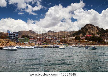 City of Copacabana at Lake Titicaca Bolivia
