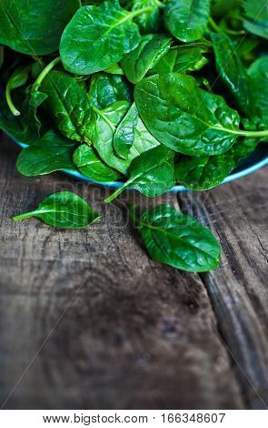 Spinach leaves in a bowl on rustic wooden table close up with copyspace