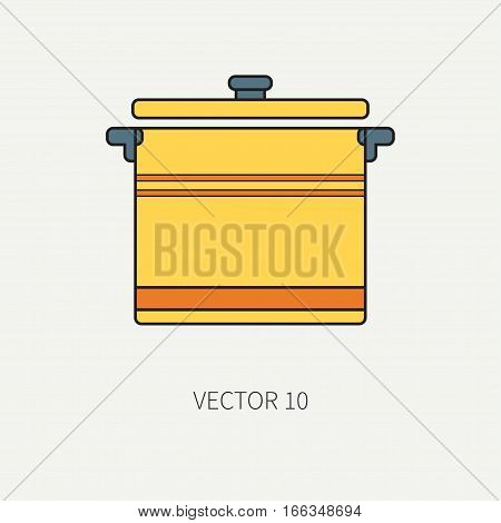 Line flat color vector kitchenware icons - pan, pot. Cutlery tools. Cartoon style. Illustration, element for your design. Equipment for food preparation. Kitchen. Household. Cooking. Cook. Set.