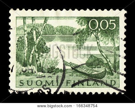 FINLAND - CIRCA 1963: a stamp printed in Finland shows landscape with lake and rowing boat, circa 1963