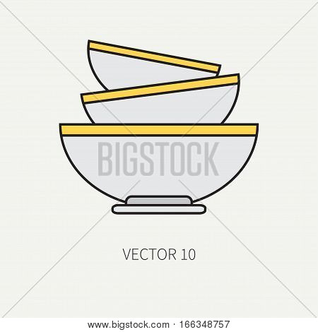 Line flat color vector kitchenware icons - bowl, dish. Cutlery tools. Cartoon style. Illustration, element for your design. Equipment for food preparation. Kitchen. Household. Cooking. Cook.