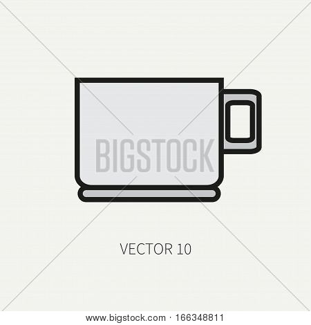 Line flat color vector kitchenware icons - cup. Cutlery tools. Cartoon style. Illustration, element for your design. Equipment for food preparation. Kitchen. Household. Cooking. Cook.Tea.