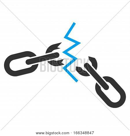 Broken Chain vector icon. Flat bicolor blue and gray symbol. Pictogram is isolated on a white background. Designed for web and software interfaces.