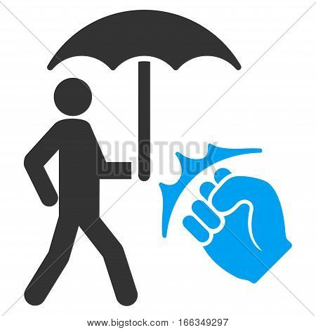 Crime Coverage vector icon. Flat bicolor blue and gray symbol. Pictogram is isolated on a white background. Designed for web and software interfaces.