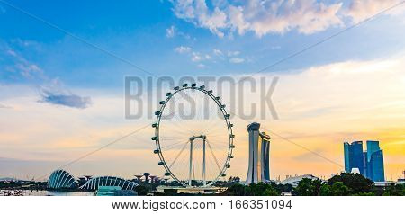 Singapore - January 7 2017: Panorama view of Marina Bay. High view of Singapore Flyer Marina Bay is one of the most famous tourist attraction in Singapore.
