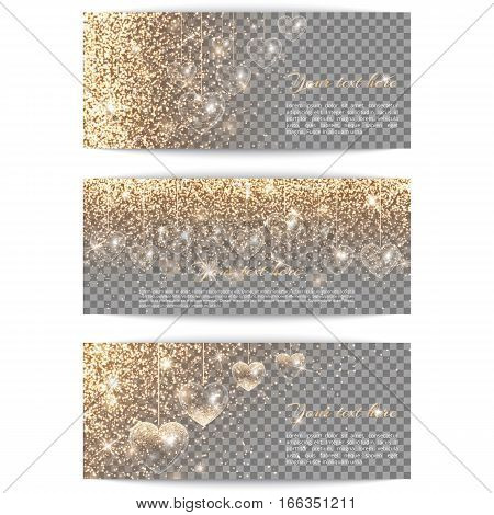 Set of horizontal banners with hearts. Glitter gold background with light effect. Brilliant pattern on a transparent backdrop.
