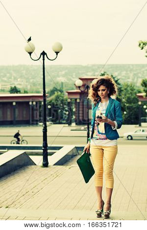 Sexy Fashion Woman Chat With Smartphone