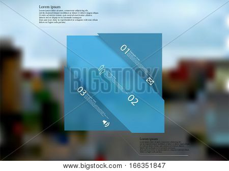 Illustration infographic template with motif of blue rectangle askew divided to three sections with simple signs. Blurred photo crossroad in the city with two streets is used as background.