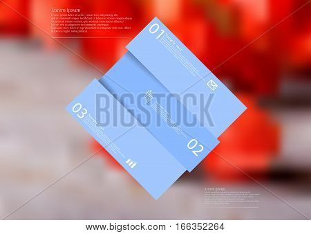 Illustration infographic template with motif of blue rhombus askew divided to three sections with simple signs. Blurred photo with natural motif with red blooms of physalis is used as background.