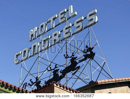 TUCSON, ARIZONA, DECEMBER 26. The Hotel Congress on December 26, 2016, in Tucson, Arizona. The vintage sign over the historic Hotel Congress in downtown Tucson Arizona at Christmastime.