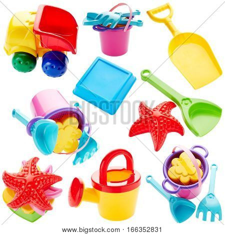 Set of children's toys isolated on white background