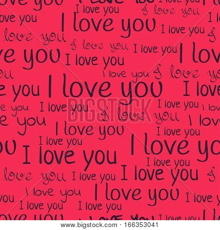 I Love You, Font Seamless Pattern. Valentine's Day Background. Purple Letters And Phrases On A Pink
