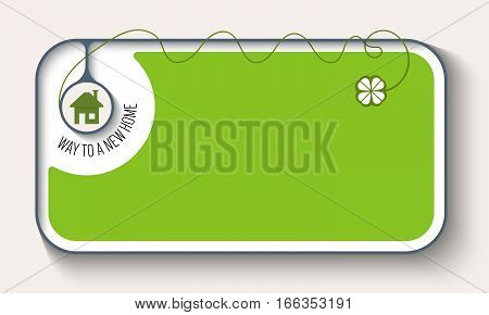 Vector green box to fill your text with cloverleaf and home icon