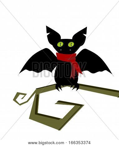 Cartoon bat head icon. Character flying.  illustration isolated on white.  bat vampire icon or avatar. Funny bat