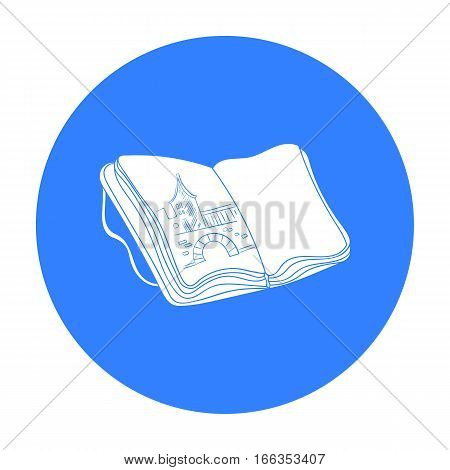 Sketchbook with drawings icon in blue style isolated on white background. Artist and drawing symbol vector illustration.