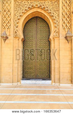Old Entrance Door  At The Royal Palace In Morocco Fes