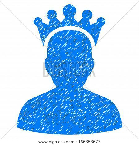 King grainy textured icon for overlay watermark stamps. Flat symbol with scratched texture. Dotted vector blue ink rubber seal stamp with grunge design on a white background.