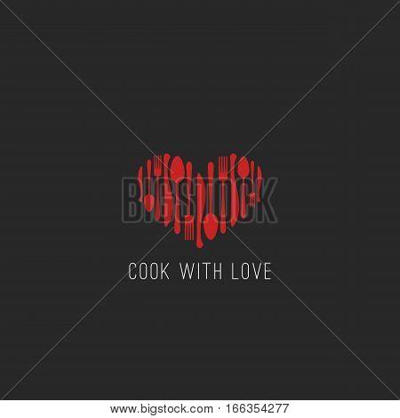 Menu logo restaurant tableware fork, spoon, knife heart shape cafe emblem, cookbook cover background mockup