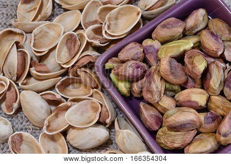 Healthy Pistachios  in a closeup photo. macro. Nuts.