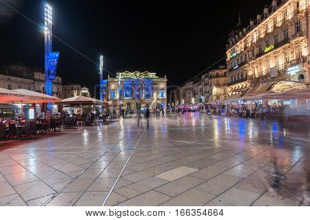 September 29, 2016, Night in the Place de la Comédie wonderful architecture and Three Graces fountain on promenade under night lights and long exposure Place de la Comédie Montpellier France urban & architectural