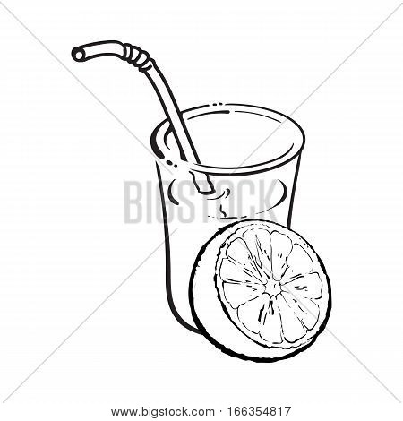 Glass of freshly squeezed juice with half of orange, sketch vector illustration isolated on white background. Hand drawing of orange and juice, design element for packaging and promo materials