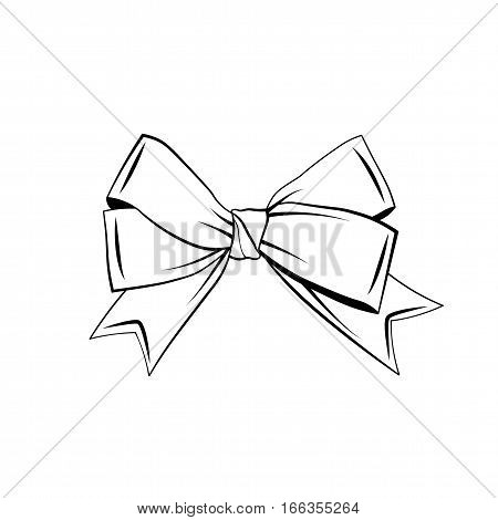 A bow ribbon gift in a vintage woodcut engraved etching style. Design element isolated poster