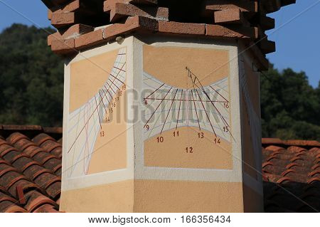 Sundial With Hour Numbers On The Chimney Of A House Facing South