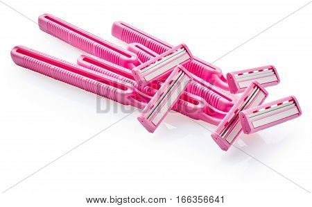 Pink razors isolated on the white background