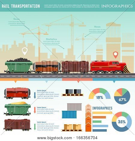 Freight trains wagonst flat design presentation. Cargo train global transport logistics. Cargo transportation by train transportation of oil gas toxic chemicals infographics