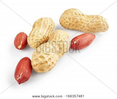 Peanuts isolated on white background. Healthy food