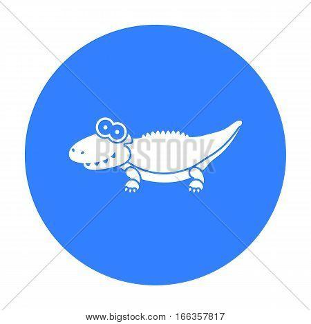 Crocodile blue icon. Illustration for web and mobile.
