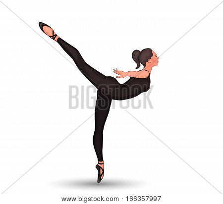 vector illustration of the the girl's training in Pointe shoes. arabesco