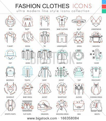 Vector Clothes shoes color line outline icons for apps and web design. Clothes shoes icons