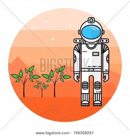 Astronaut grow plants on Mars. Human mission to Mars. For web design and application interface, also useful for infographics. Thin line icon. Vector Illustration.