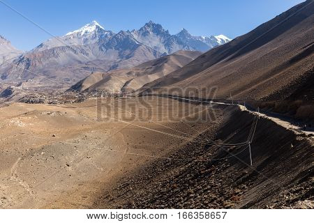 View on the Himalayan Mountains electricity transmission line Nepal