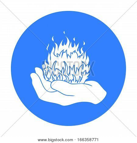 Fire spell icon in blue style isolated on white background.