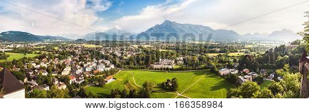 Panoramic view of Alps and Salzburg from Hohensalzburg Austria