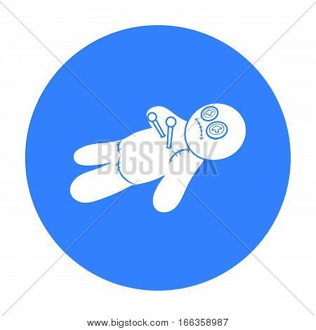 Voodoo doll icon in blue style isolated on white background