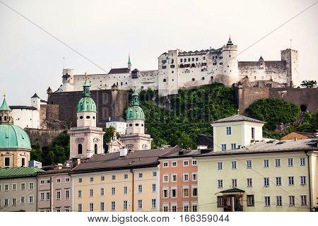 Panoramic View of Hohensalzburg in Salzburg Austria